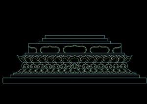 某古典中式景观柱底座设计CAD图
