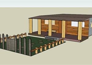 某美式一层住宅建筑庭院景观设计SU(草图大师)模型