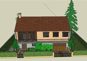 某两层住宅建筑景观设计SU(草图大师)模型