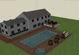 某豪华住宅建筑设计SU(草图大师)模型(带景观)