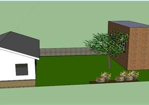 某混合式住宅建筑周边景观设计SU(草图大师)模型