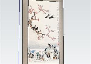 古典中式风格装饰画设计SU(草图大师)模型