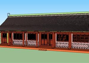 某单层古建居住建筑SU(草图大师)模型素材
