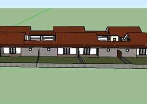 某美式居住建筑房设计SU(草图大师)模型