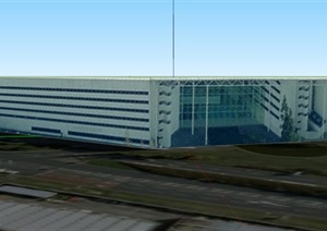 现代某市中心多层广播楼建筑设计SU(草图大师)模型