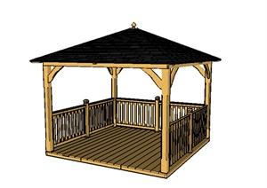 某木质凉亭设计SU(草图大师)模型参考