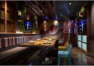 东南亚风格某咖啡厅室内装修装饰设计3DMAX模型