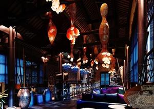 某东南亚风格酒吧室内装修装饰设计3DMAX模型