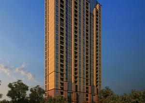 某高层现代居住建筑3DMAX模型(含景观)