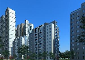 某居住建筑楼房设计3DMAX模型素材(含景观)