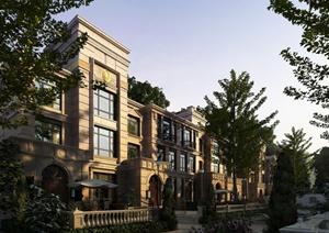 新古典风格多层别墅建筑带小庭院设计3DMAX模型