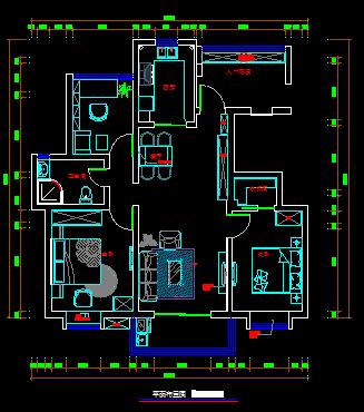小户型室内设计CAD平面方案图(dwg格式)(1)