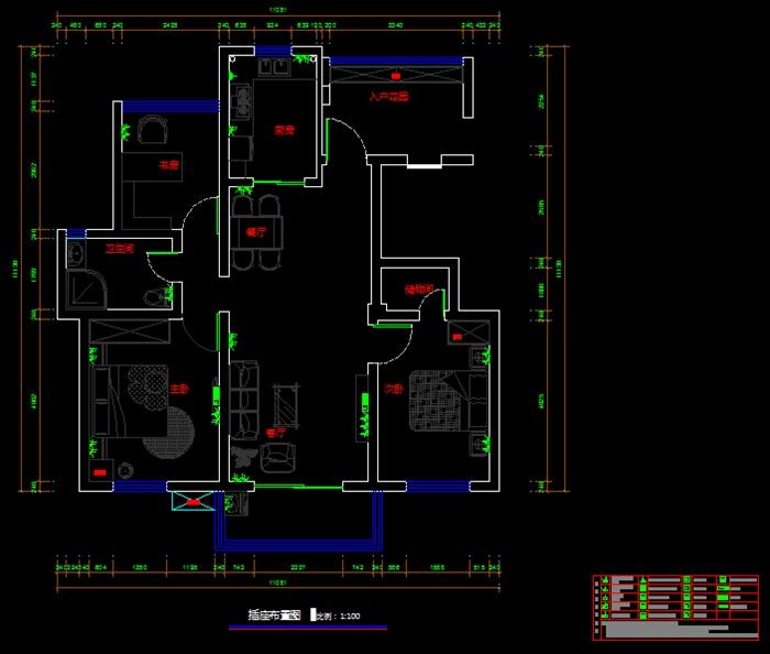 小户型室内设计CAD平面方案图(dwg格式)(3)