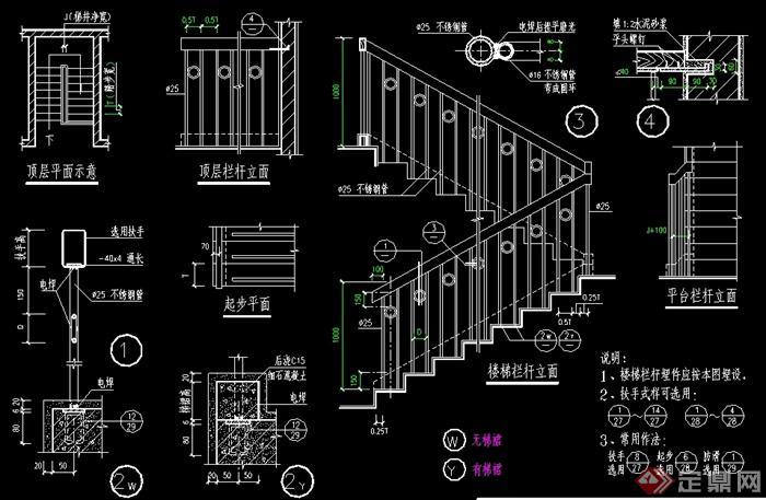 多款楼梯栏杆、扶手节点大样施工图