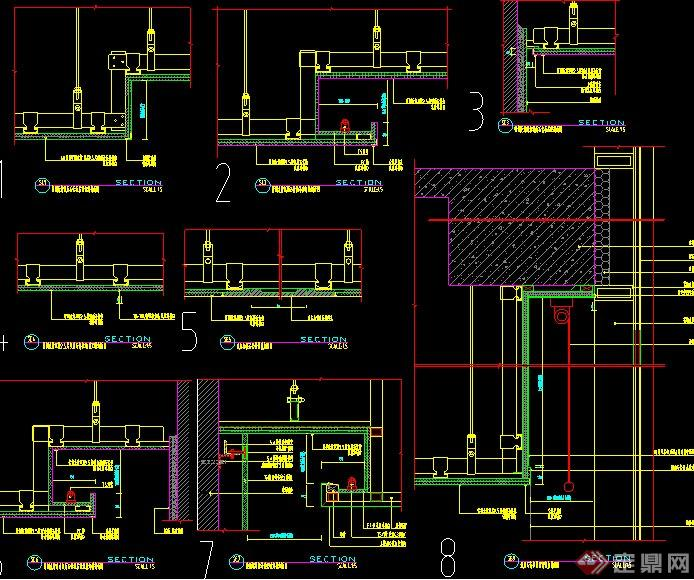 兩條室內輕鋼龍骨紙面石膏板設計CAD施工圖(1)