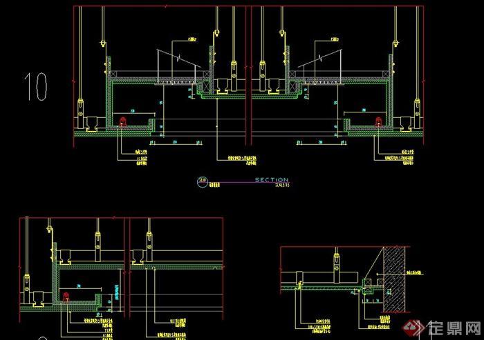 兩條室內輕鋼龍骨紙面石膏板設計CAD施工圖(2)