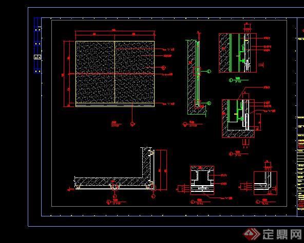 某卫生间干区石材湿贴节点设计CAD施工图(1)