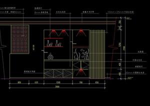 餐厅区多个装饰墙及酒架造型设计CAD立面图
