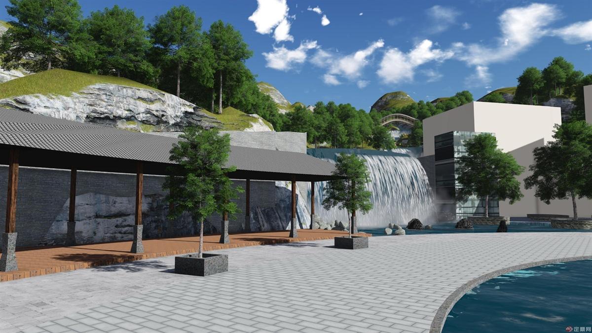 酒店入口广场左侧长廊景观,依山傍水,是很好的地域风情表现元素!