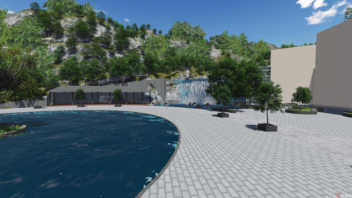 酒店入口广场右侧景观,简洁的景观元素包围着中央的镜面水池,具有很宁静的景观效果。