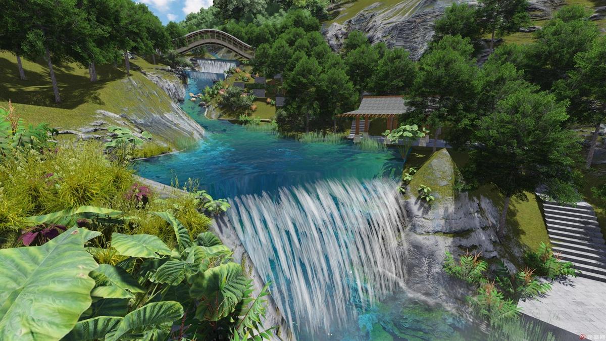 河道上的瀑布景观,利用地势稍微缓一点的地方,筑堤堵水,营造出美丽的瀑布效果。