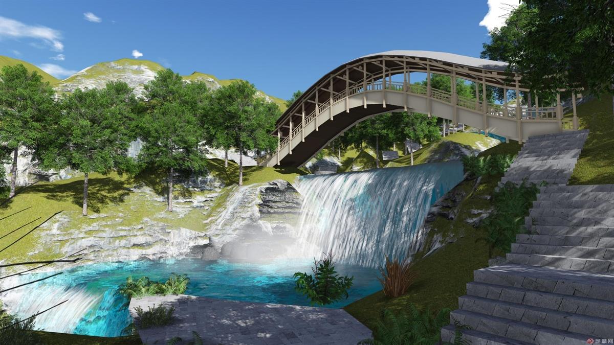 河道上的风雨廊是河道中最有民族特色的景观,观景、远眺、休闲的绝佳之地。