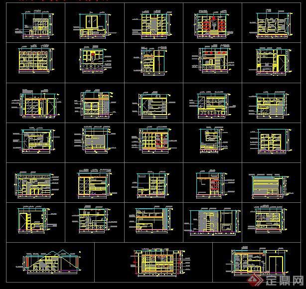 33款書架設計立面CAD圖紙(3)