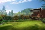 花园草坪一角秋千摆放处景观效果图