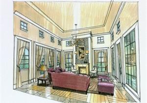 某别墅室内装饰设计施工图(带手绘图)