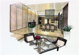 某两层别墅住宅空间装修设计CAD施工图附手绘图