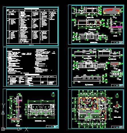 一层新农村自建舒适型平房带小院、车库房屋建筑施工图-120平6张CAD图(1)