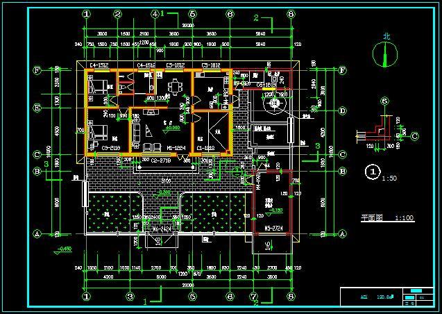 一層新農村自建舒適型平房帶小院、車庫房屋建筑施工圖-120平6張CAD圖(3)