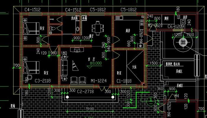 一層新農村自建舒適型平房帶小院、車庫房屋建筑施工圖-120平6張CAD圖(4)