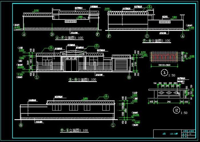 一层新农村自建舒适型平房带小院、车库房屋建筑施工图-120平6张CAD图(5)