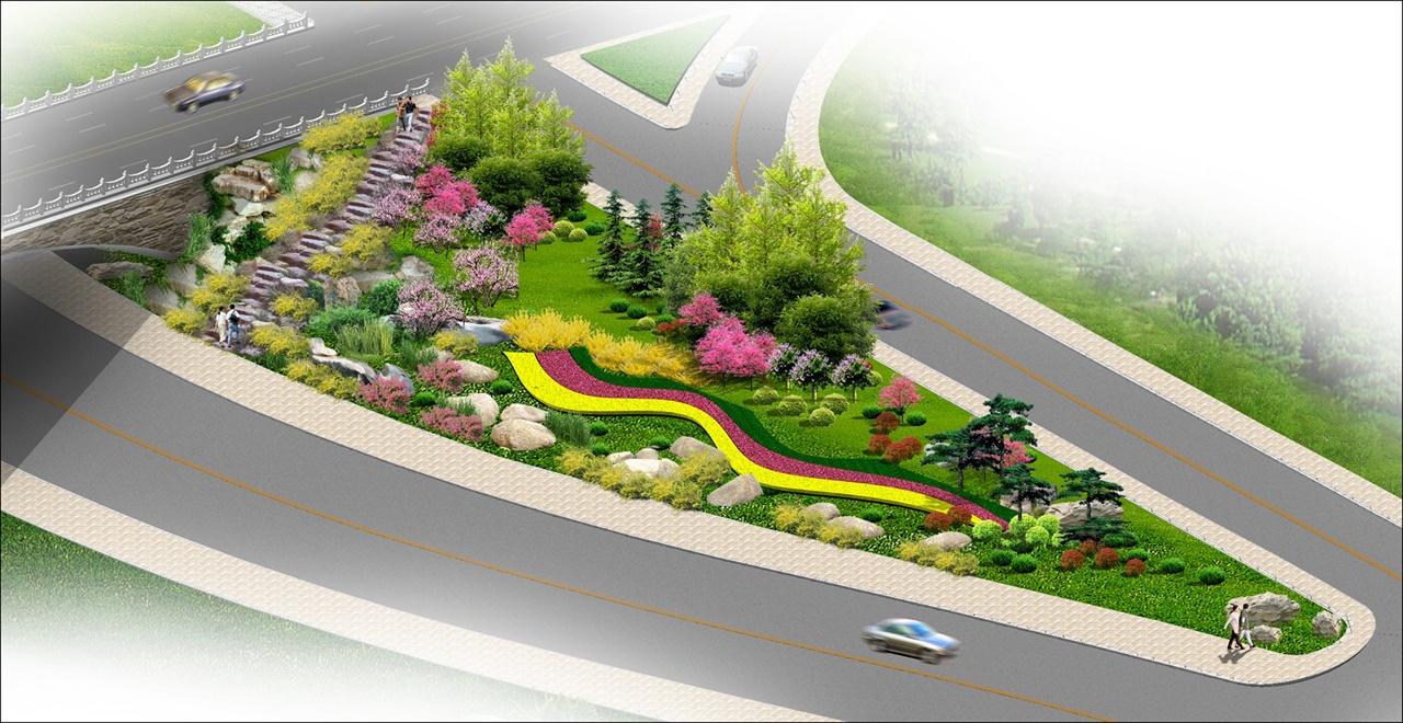 滨河大道匝道口景观绿化设计效果图1