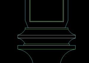 园林景观石质柱子基座立面图