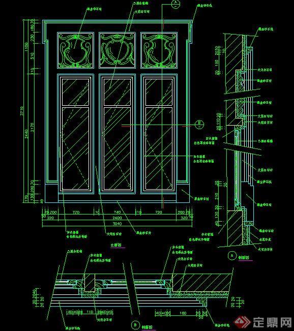 欧式风格室内窗户施工图(1)