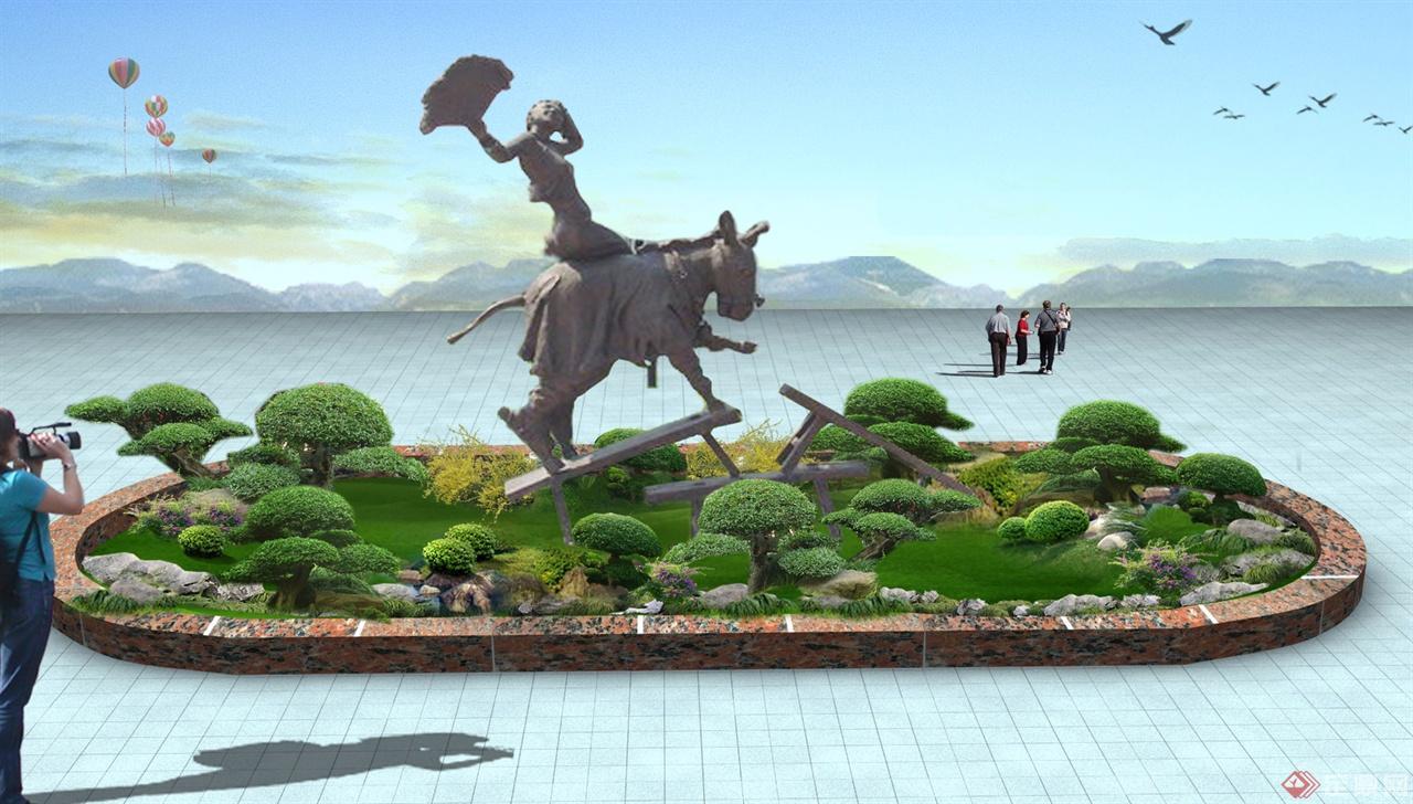 某厂区入口花坛设计驴雕塑效果图
