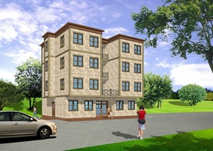 一栋四层住宅楼建筑设计SU(草图大师)模型