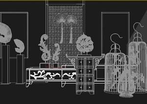 东南亚中式装饰柜案几装饰品组合设计3DMAX模型