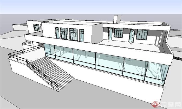 现代风格图根哈特别墅建筑设计su模型(含cad图纸)