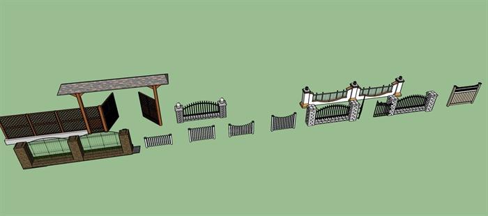 十种栏杆围墙su模型