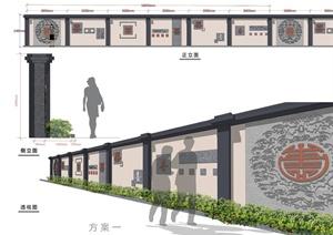 某文化景观墙设计方案图