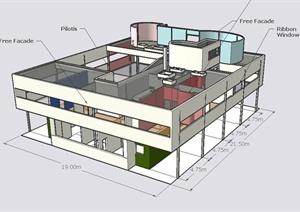 某地萨伏伊别墅建筑设计PPT文本+JPG图片+SU(草图大师)模型+cad设计图纸