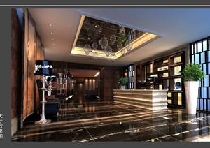 某酒店装饰设计CAD施工图(附效果图)