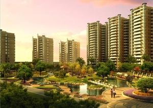 某住宅区建筑景观设计3DMAX模型(附效果图)