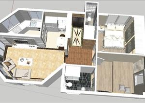 两室一厅小户型住宅装饰设计SU(草图大师)模型