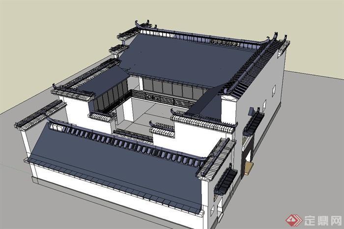 某古典中式徽派四合院住宅建筑设计SU模型(1)