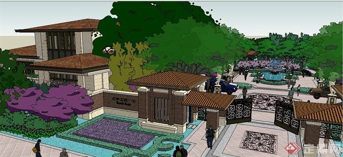 某新古典住宅小区建筑景观设计su模型(3)