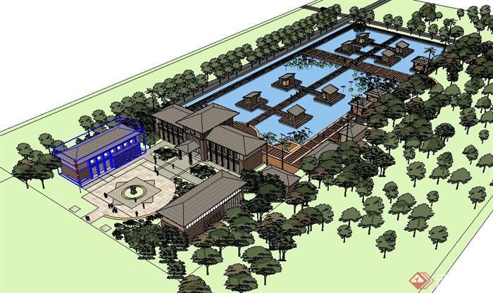 现代中式生态园休闲山庄建筑设计su模型(2)